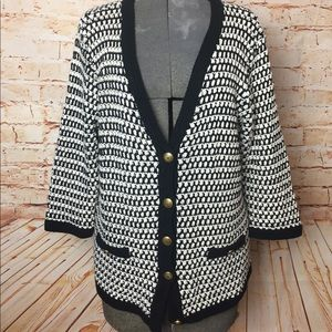 {Cabi} knitted black and white cardigan, XL